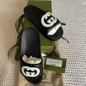 BRAND NEW Gucci Monogram Slides Black White 38